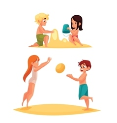 Children playing on the sandy beach vector