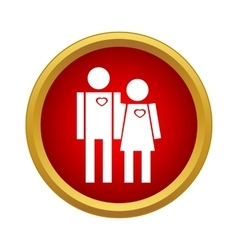 Loving couple icon simple style vector