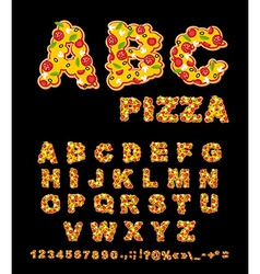 Abc pizza appetizing letters from fast food edible vector