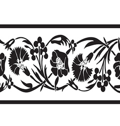 Black and white vintage wildflowers border floral vector image vector image