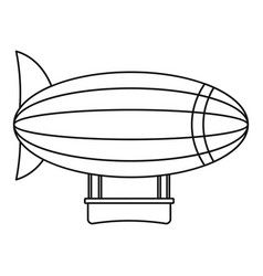 blimp aircraft flying icon outline style vector image