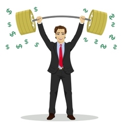 Businessman lifts up barbell with dollar sign vector