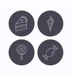 Cake candy and ice cream icons vector image vector image