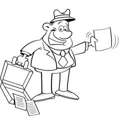 cartoon businessman holding an open briefcase vector image vector image