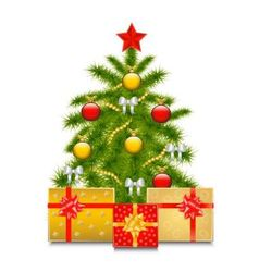 Christmas tree with gifts vector image