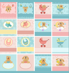 Collection of babys postcards vector image vector image