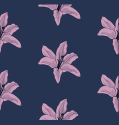 Colorful seamless pattern with drawn lilies vector