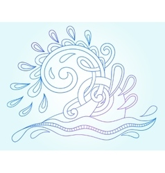 Decorative aquatic blue wave with sparks and drops vector
