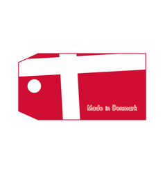 Denmark flag on price tag with word made in vector