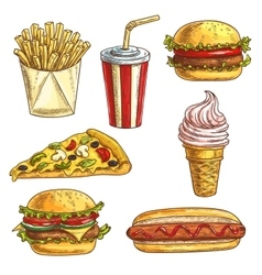 Fast food sketch icons set vector