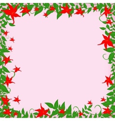 frame with red flowers vector image