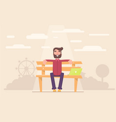freelancer happy sitting in the park taking a vector image