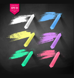 Hand drawn strokes and pieces of colored chalks vector