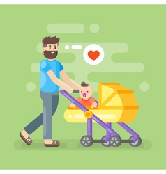happy father caring his kid vector image
