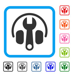 headphones tuning wrench framed icon vector image