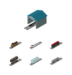 Isometric train set of subway vehicle railroad vector