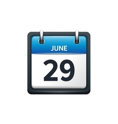 June 29 calendar icon flat vector