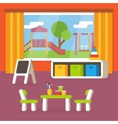 Kindergarten classroom preschool room interior vector