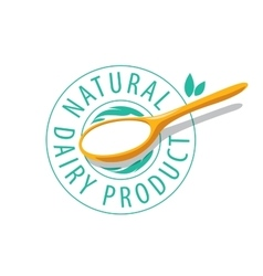 Logo spoon with milk product vector