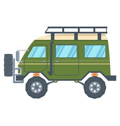 Off-road vehicle van with mud tire vector