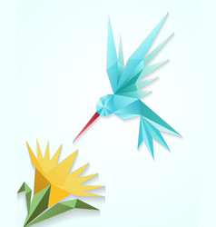 Origami hummingbird with flower Paper 3D humming vector image
