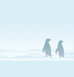 Penguin on the snow silhouette landscape vector