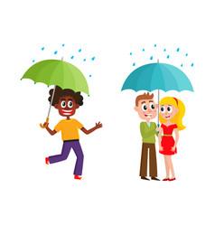 people keeping umbrella in rain set vector image vector image