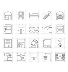 Real Estate and building icons vector image vector image