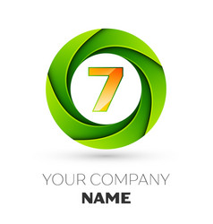 Realistic number seven logo in the colorful circle vector