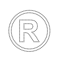 Registered trademark sign black dashed vector
