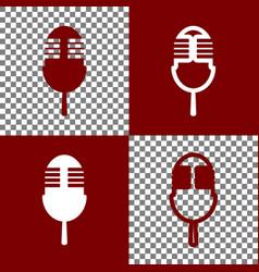 Retro microphone sign bordo and white vector