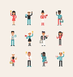 Set of Flat Style Cartoon Business Man and Women vector image vector image