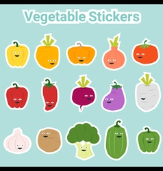 Set of funny vegetable stickers vector image