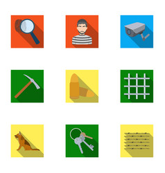 Set of images about the prison and prisoners vector