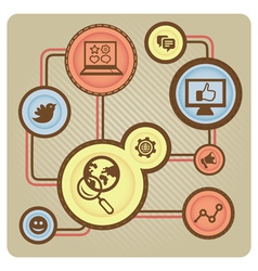 social media concept with internet icons vector image vector image
