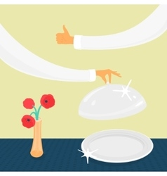 Tableware and hands vector