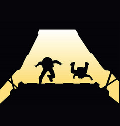 Two paratroopers jump from the plane vector