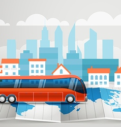 World map with the bus infographic elements Summer vector image