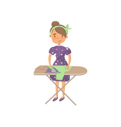 young woman in casual clothing ironing clothes on vector image