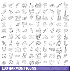 100 harmony icons set outline style vector