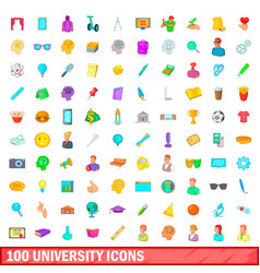 100 university icons set cartoon style vector image