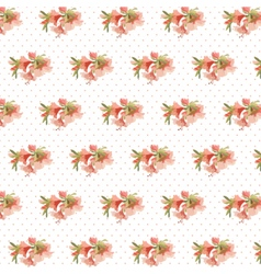 Watercolor retro flowers on dotted pattern vector