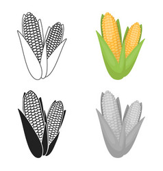 sweet corn icon in cartoon style isolated on white vector image