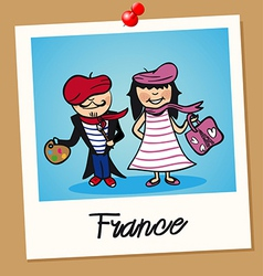 France travel polaroid people vector
