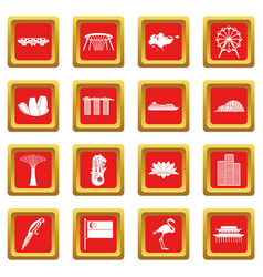 Singapore icons set red vector