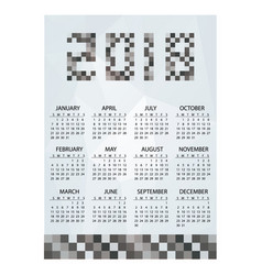 2018 simple business wall calendar grayscale vector image vector image