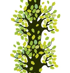 Tree seamless border with oak leaves vector