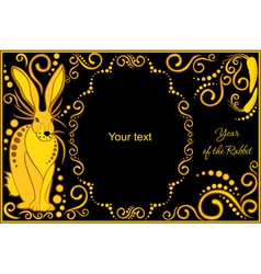Template with sign chinese horoscope rabbit vector