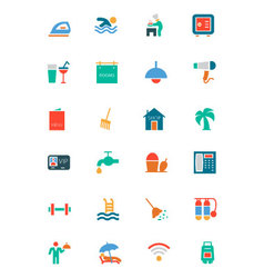 Hotel and restaurant colored icons 2 vector
