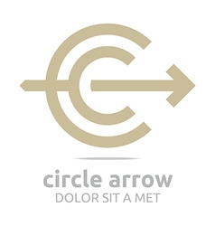 Logo design letter c arrow brown icon symbol vector